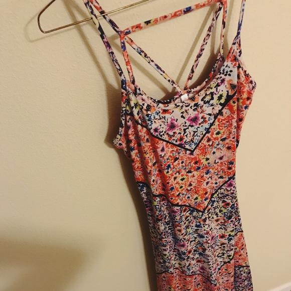 Xhilaration Dresses & Skirts - Bright Angled Print Floral Cotton Maxi Dress